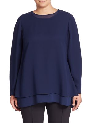 Reece Silk Double Georgette Layered Blouse plus size,  plus size fashion plus size appare