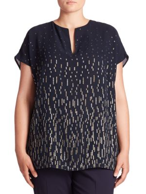 Joanie Moonlit Metallic Blouse plus size,  plus size fashion plus size appare