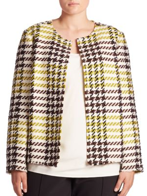 Dani Plaid Tweed Jacket plus size,  plus size fashion plus size appare