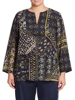 Adeline Silk Printed Blouse plus size,  plus size fashion plus size appare