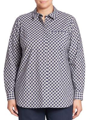 Brody Cotton Gingham Blouse plus size,  plus size fashion plus size appare