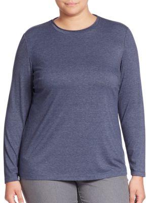 Long Sleeve Cotton Blend Tee plus size,  plus size fashion plus size appare