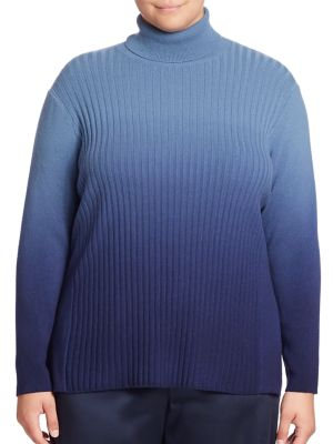 Cashmere Ombre Rib-Knit Turtleneck Sweater plus size,  plus size fashion plus size appare