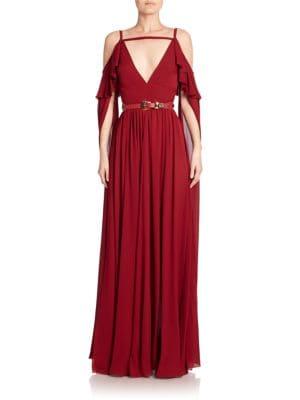 Silk Cold-Shoulder Gown