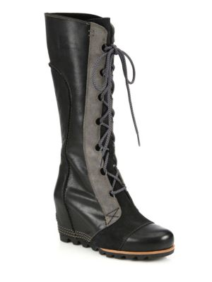 sorel female 188971 cate the great leather wedge boots