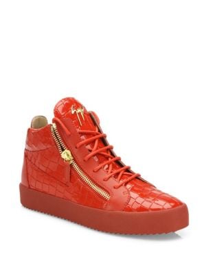 Croc-Embossed Patent Leather Sneakers