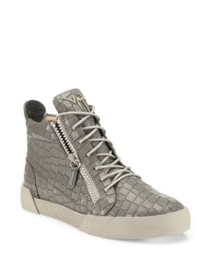 Matte Croc-Embossed Leather Sneakers