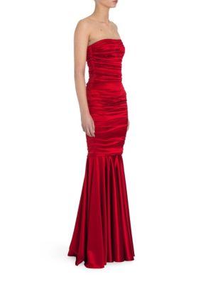 Strapless Stretch Satin Gown