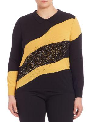 Point Collar Woolen Sweater plus size,  plus size fashion plus size appare