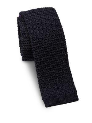 Woven Silk Square-End Slim Tie