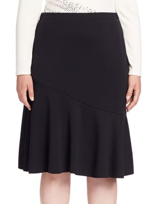 Solid Knee-Length Skirt plus size,  plus size fashion plus size appare