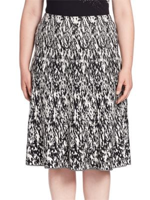 Abstract Print Flared Skirt plus size,  plus size fashion plus size appare