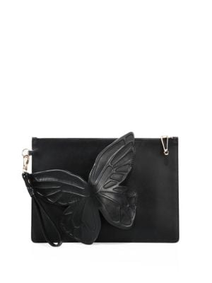 Flossy 3D Butterfly Leather Clutch