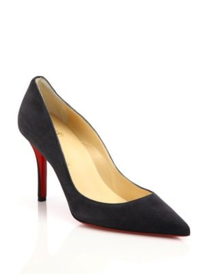 christian louboutin female apostrophy suede point toe pumps
