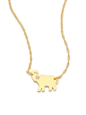 Erin Elephant Diamond Pendant Necklace