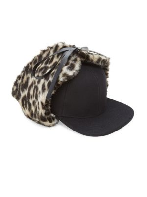 Leopard-Print Faux Fur & Wool Trapper Hat