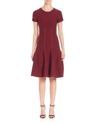 Embellished Knit Fit-&-Flare Dress