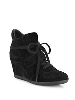 아쉬 하이탑 스니커즈 ASH Bowie Suede High-Top Wedge Sneakers,Black