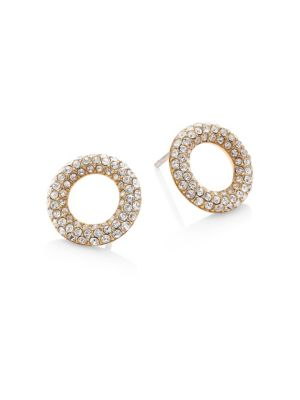 michael kors female brilliance pave crystal stud earringsgoldtone