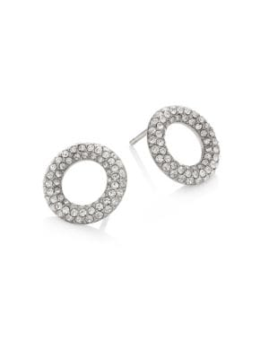 michael kors female brilliance pave crystal stud earringssilvertone