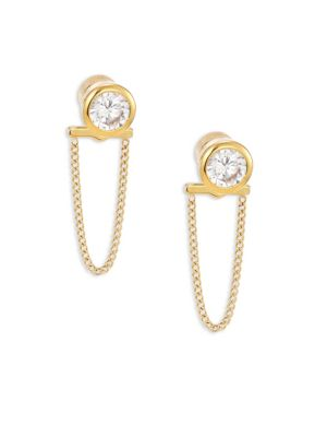 michael kors female brilliance crystal chain front back stud earringsgoldtone
