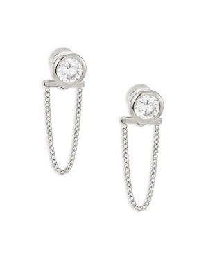 michael kors female brilliance crystal chain front back stud earringssilvertone