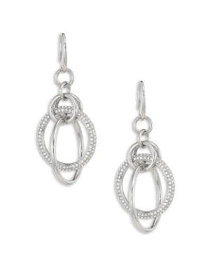 Brilliance Crystal Drop Earrings/Silvertone