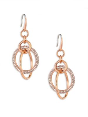 michael kors female brilliance crystal drop earringsrose goldtone