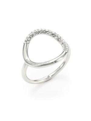 michael kors female pave circle ringsilvertone