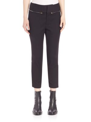 Zipper Accented Cropped Pants by Ms. Min