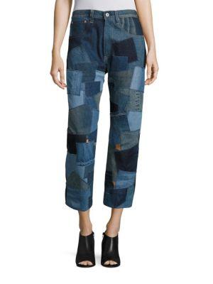 Leather-Back Cotton Denim Patchwork Jeans