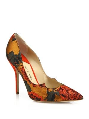 Zenadia Floral Lurex Jacquard Point-Toe Pumps