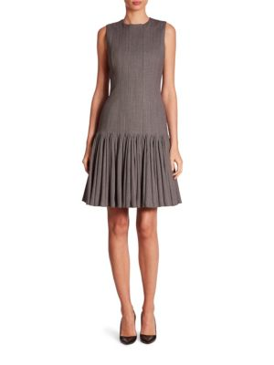 Pleated Mélange Wool Dress