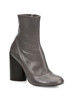 marc jacobs female 45906 grace leather blockheel booties