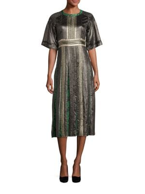 Metallic & Python Print Pleated Dress