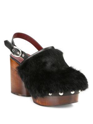 marc jacobs female 188971 liya rabbit fur wooden slingback clogs