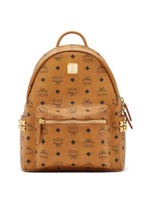 mcm female 188971 stark studded coated canvas backpack