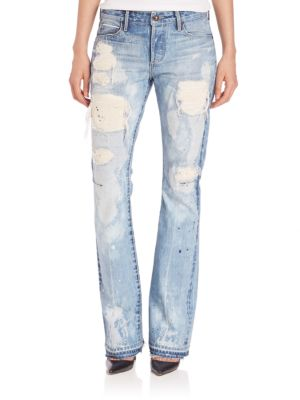 Bell Paint Splatter Distressed Bootcut Jeans by Tortoise