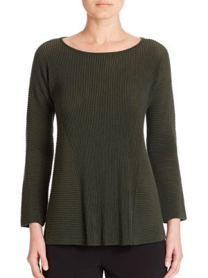 Fine Gauge Merino Ribbed Peplum Sweater by Lafayette 148 New York