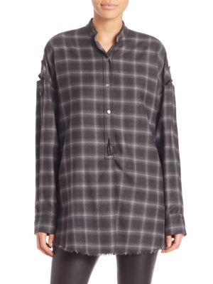 Wool Blend Plaid Shirt by Helmut Lang