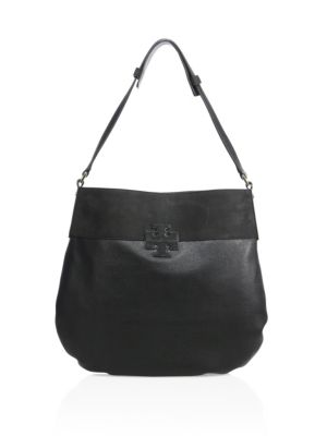 tory burch female 188971 stacked t leather suede hobo bag