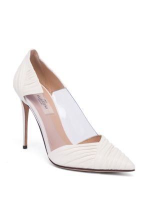 VALENTINO B-Drape Leather Point Toe Pumps
