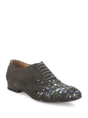 Paint Splattered Calf Leather Oxfords