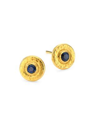 GURHAN Classic 24K Gold Sapphire Stud Earrings