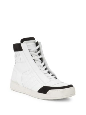 Signature Logo Leather & Suede High-Top Sneakers