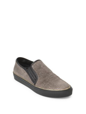 Textured Leather Slip-Ons