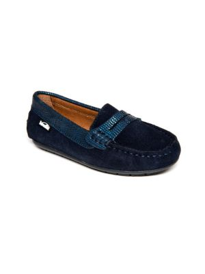 Toddler's & Kid's Snake-Embossed Suede Loafers