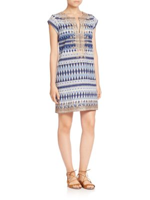 Ro Cotton Ikat-Print Dress