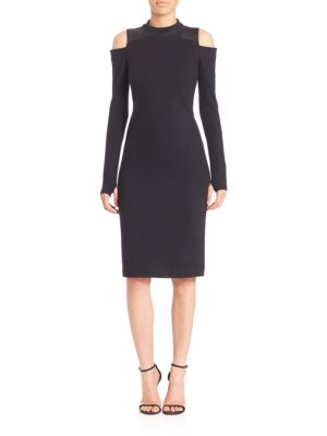 Baraza Cold Shoulder Wool Sheath Dress