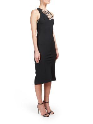 Geometric-Inset Sleeveless Dress